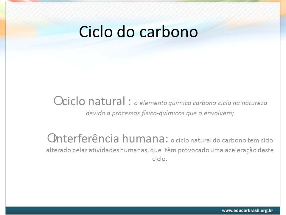 Ciclo do carbono ciclo natural : o elemento químico carbono cicla na natureza devido a processos físico-químicos que o envolvem; Interferência humana: o ciclo natural do carbono tem sido alterado pelas atividades humanas, que têm provocado uma aceleração deste ciclo.