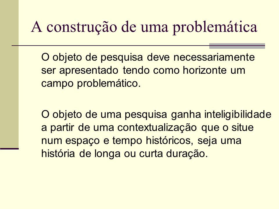 A construção de uma problemática O objeto de pesquisa deve necessariamente ser apresentado tendo como horizonte um campo problemático. O objeto de uma