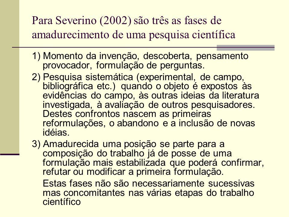Para Severino (2002) são três as fases de amadurecimento de uma pesquisa científica 1) Momento da invenção, descoberta, pensamento provocador, formula