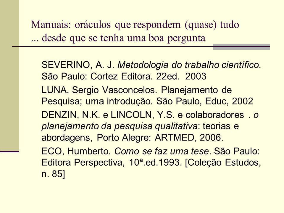 Manuais: oráculos que respondem (quase) tudo... desde que se tenha uma boa pergunta SEVERINO, A. J. Metodologia do trabalho científico. São Paulo: Cor