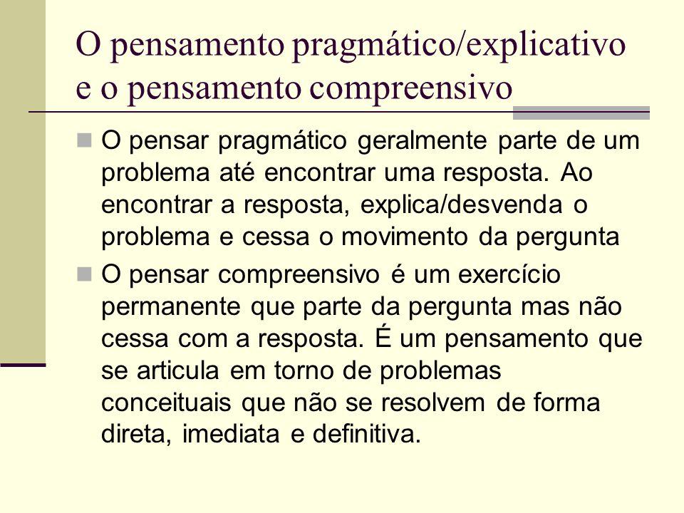 O pensamento pragmático/explicativo e o pensamento compreensivo O pensar pragmático geralmente parte de um problema até encontrar uma resposta. Ao enc