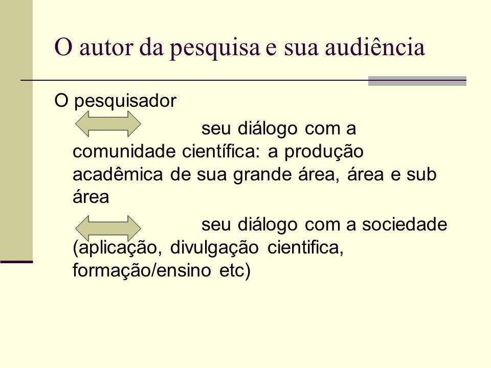 O autor da pesquisa e sua audiência O pesquisador seu diálogo com a comunidade científica: a produção acadêmica de sua grande área, área e sub área se