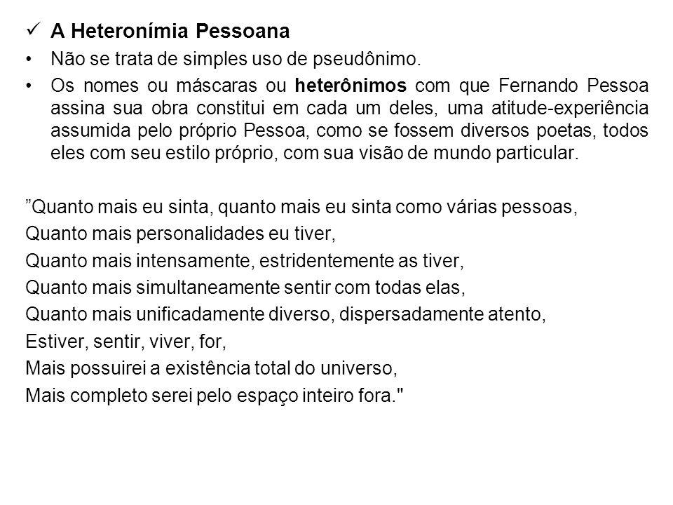 A Heteronímia Pessoana Não se trata de simples uso de pseudônimo. Os nomes ou máscaras ou heterônimos com que Fernando Pessoa assina sua obra constitu