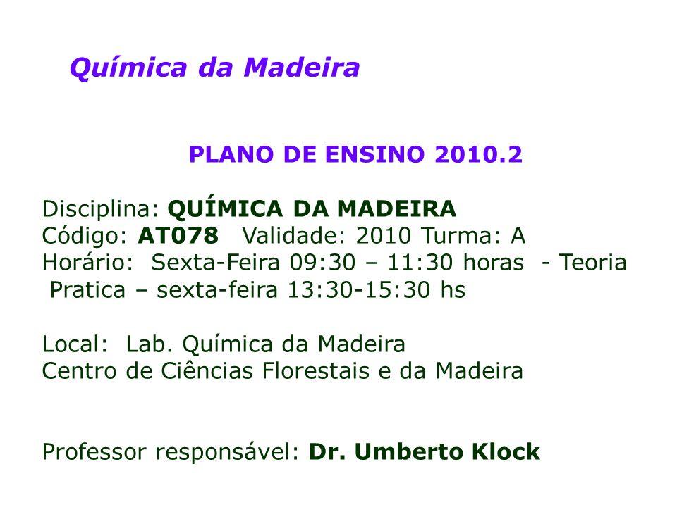 CEIM – Química da Madeira Assuntos: - PARTE TEÓRICA 1.Introdução à Disciplina.