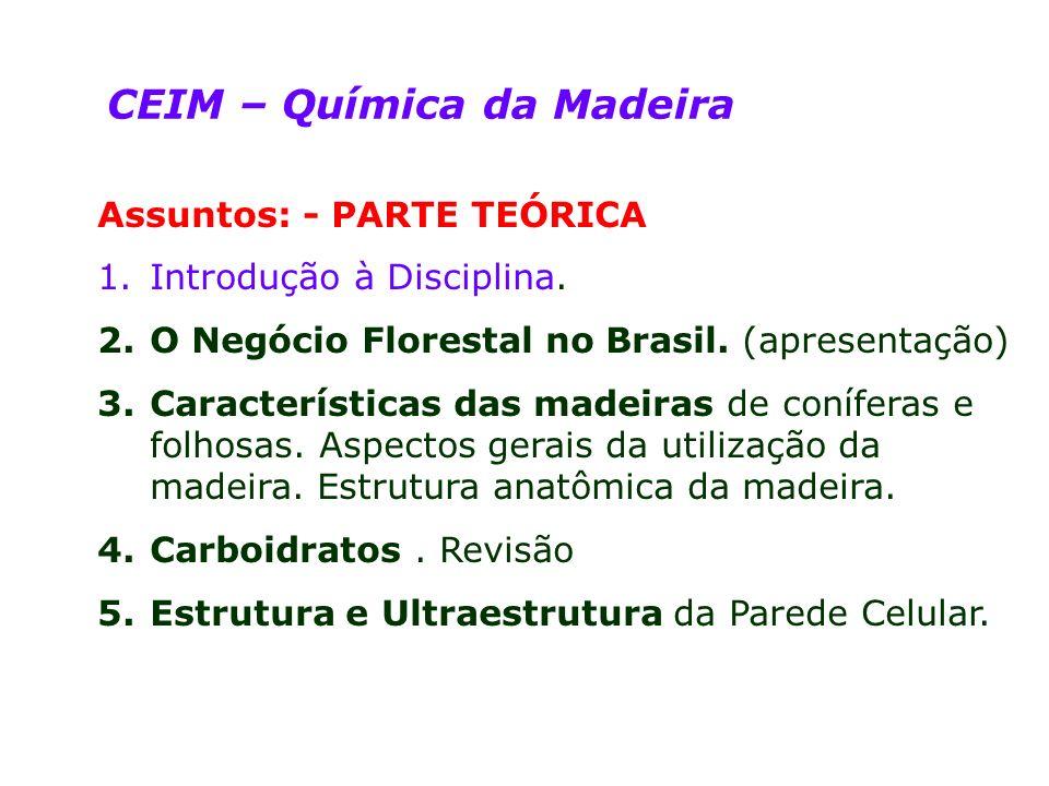 CEIM – Química da Madeira Assuntos: - PARTE TEÓRICA 1.Introdução à Disciplina. 2.O Negócio Florestal no Brasil. (apresentação) 3.Características das m