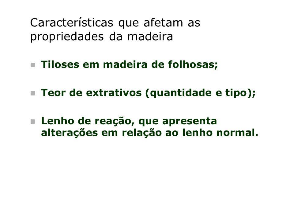 Características que afetam as propriedades da madeira n Tiloses em madeira de folhosas; n Teor de extrativos (quantidade e tipo); n Lenho de reação, q