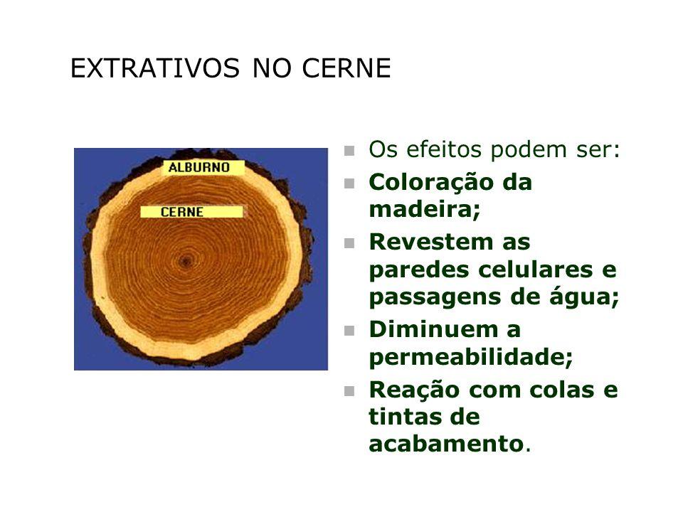 EXTRATIVOS NO CERNE n Os efeitos podem ser: n Coloração da madeira; n Revestem as paredes celulares e passagens de água; n Diminuem a permeabilidade;