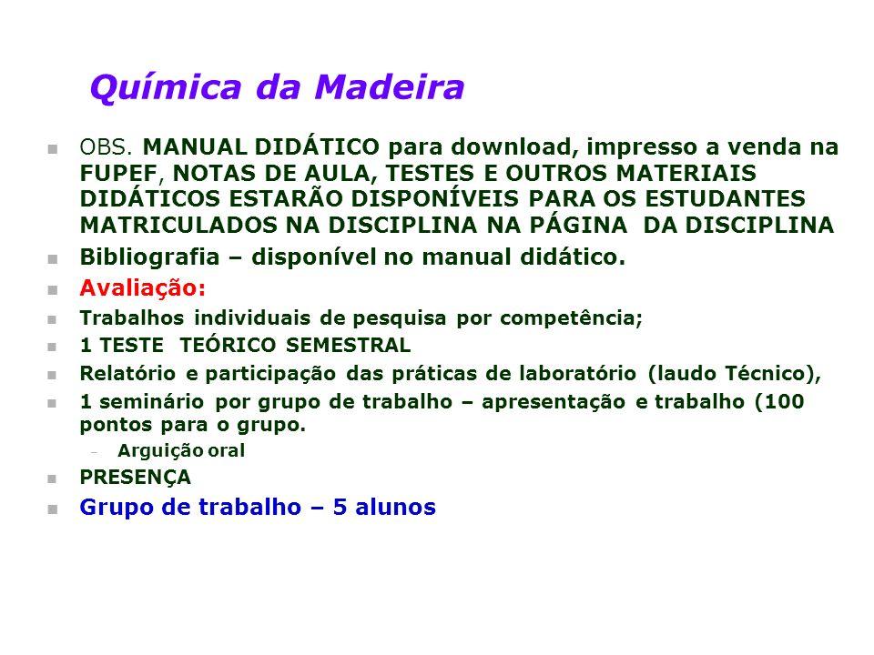 Química da Madeira n OBS. MANUAL DIDÁTICO para download, impresso a venda na FUPEF, NOTAS DE AULA, TESTES E OUTROS MATERIAIS DIDÁTICOS ESTARÃO DISPONÍ