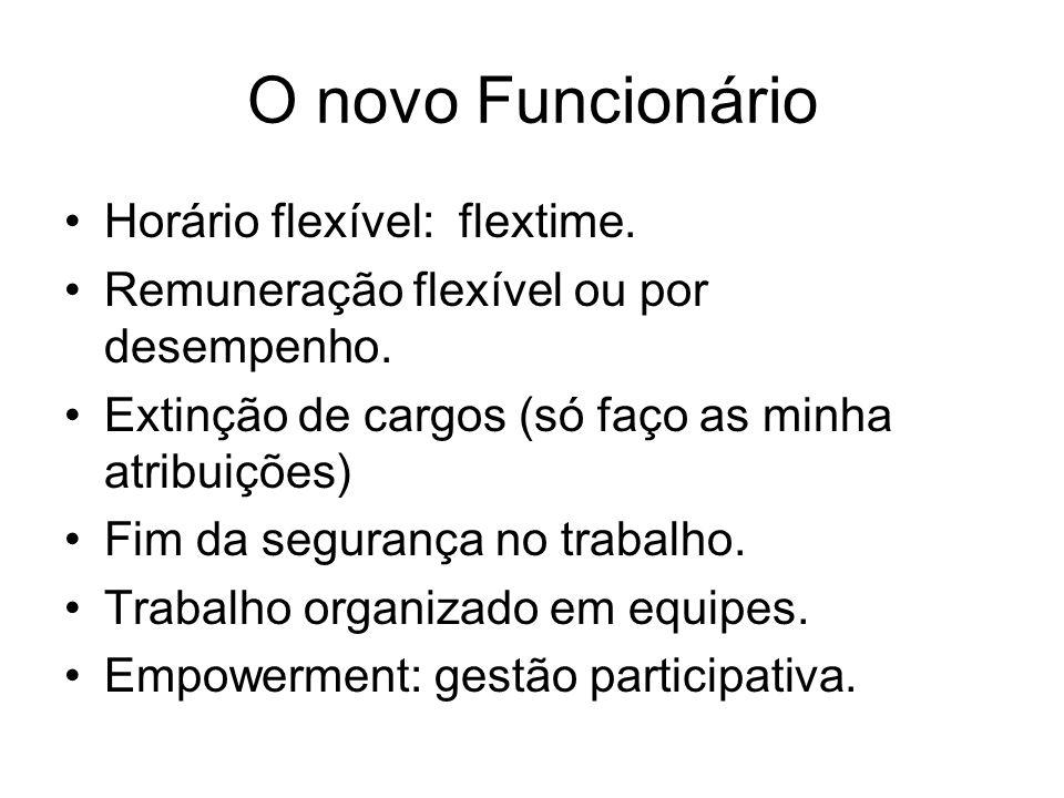 O novo Funcionário Horário flexível: flextime. Remuneração flexível ou por desempenho. Extinção de cargos (só faço as minha atribuições) Fim da segura