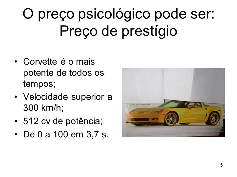 15 O preço psicológico pode ser: Preço de prestígio Corvette é o mais potente de todos os tempos; Velocidade superior a 300 km/h; 512 cv de potência;