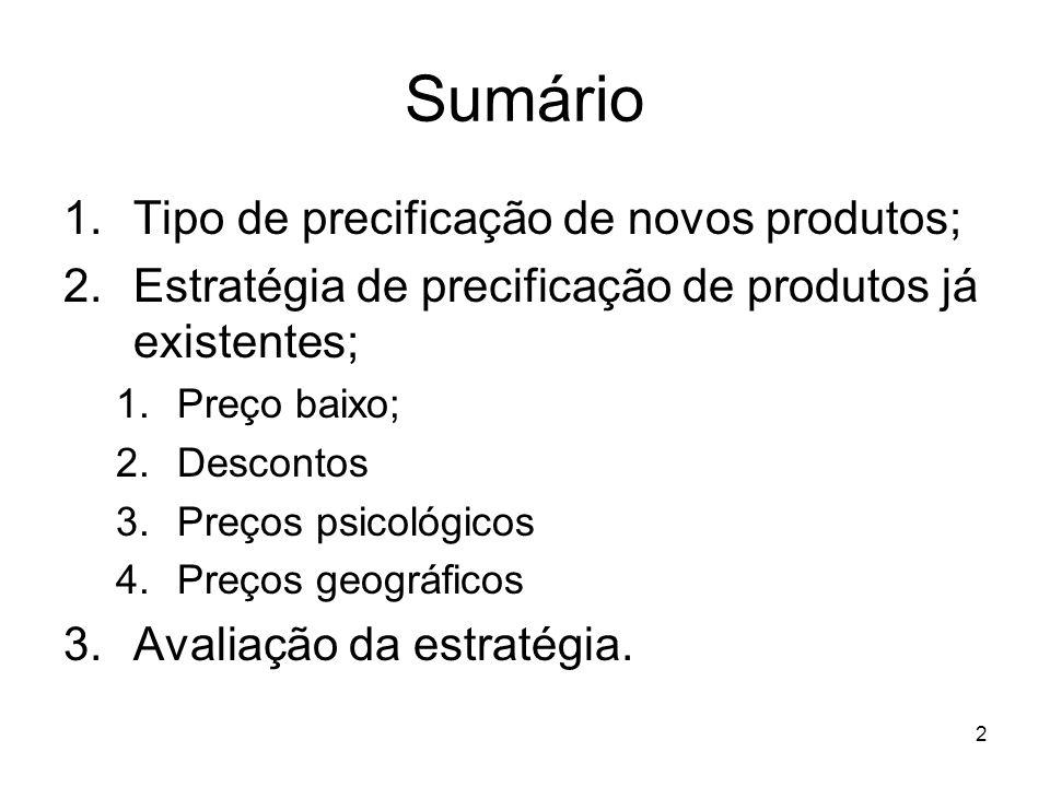 2 Sumário 1.Tipo de precificação de novos produtos; 2.Estratégia de precificação de produtos já existentes; 1.Preço baixo; 2.Descontos 3.Preços psicol