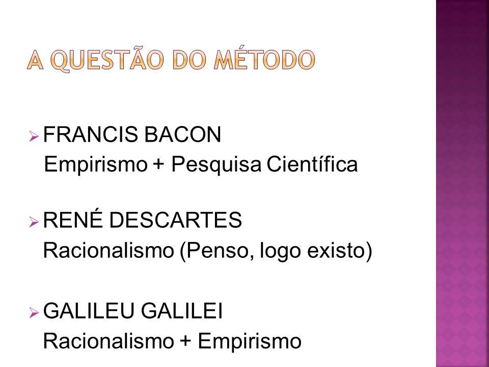 FRANCIS BACON Empirismo + Pesquisa Científica RENÉ DESCARTES Racionalismo (Penso, logo existo) GALILEU GALILEI Racionalismo + Empirismo
