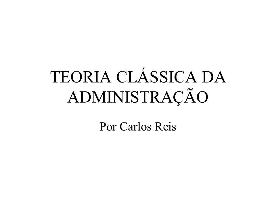 TEORIA CLÁSSICA DA ADMINISTRAÇÃO Por Carlos Reis