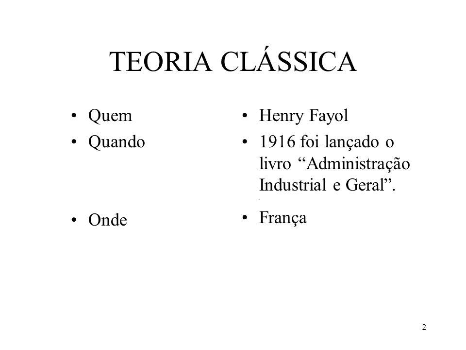2 TEORIA CLÁSSICA Quem Quando Onde Henry Fayol 1916 foi lançado o livro Administração Industrial e Geral.. França