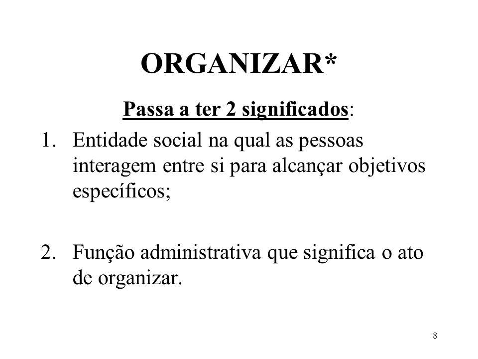 8 ORGANIZAR* Passa a ter 2 significados: 1.Entidade social na qual as pessoas interagem entre si para alcançar objetivos específicos; 2.Função adminis