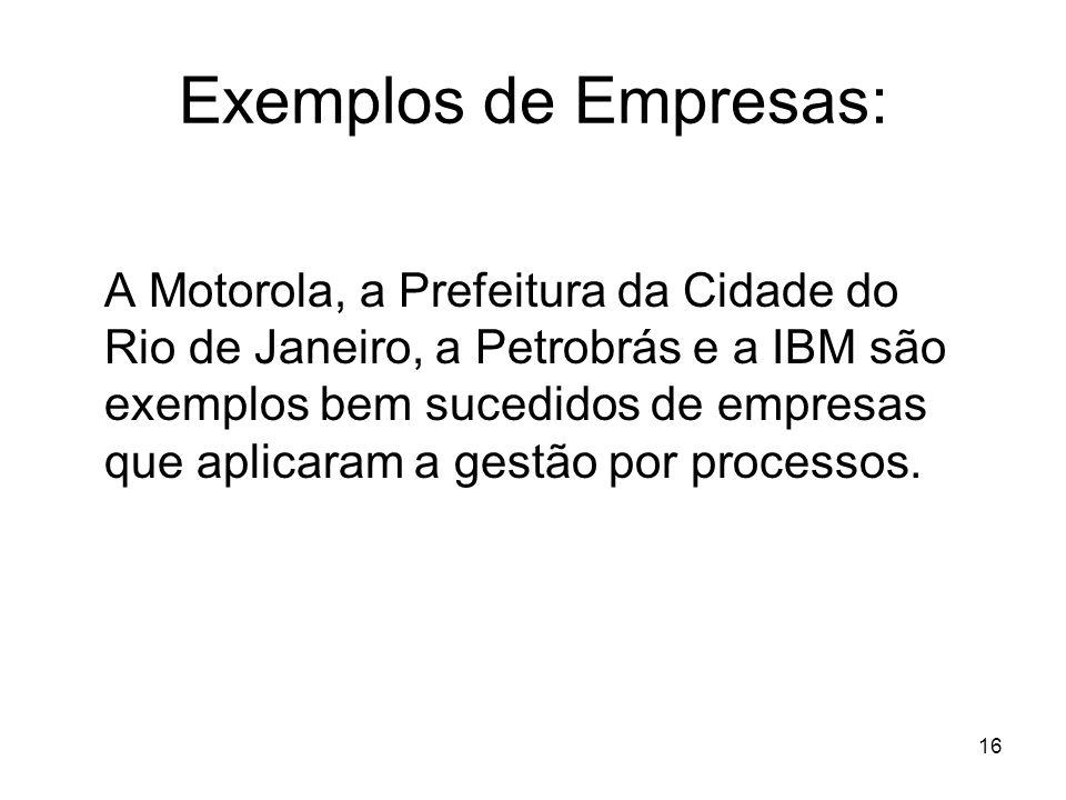 16 Exemplos de Empresas: A Motorola, a Prefeitura da Cidade do Rio de Janeiro, a Petrobrás e a IBM são exemplos bem sucedidos de empresas que aplicara