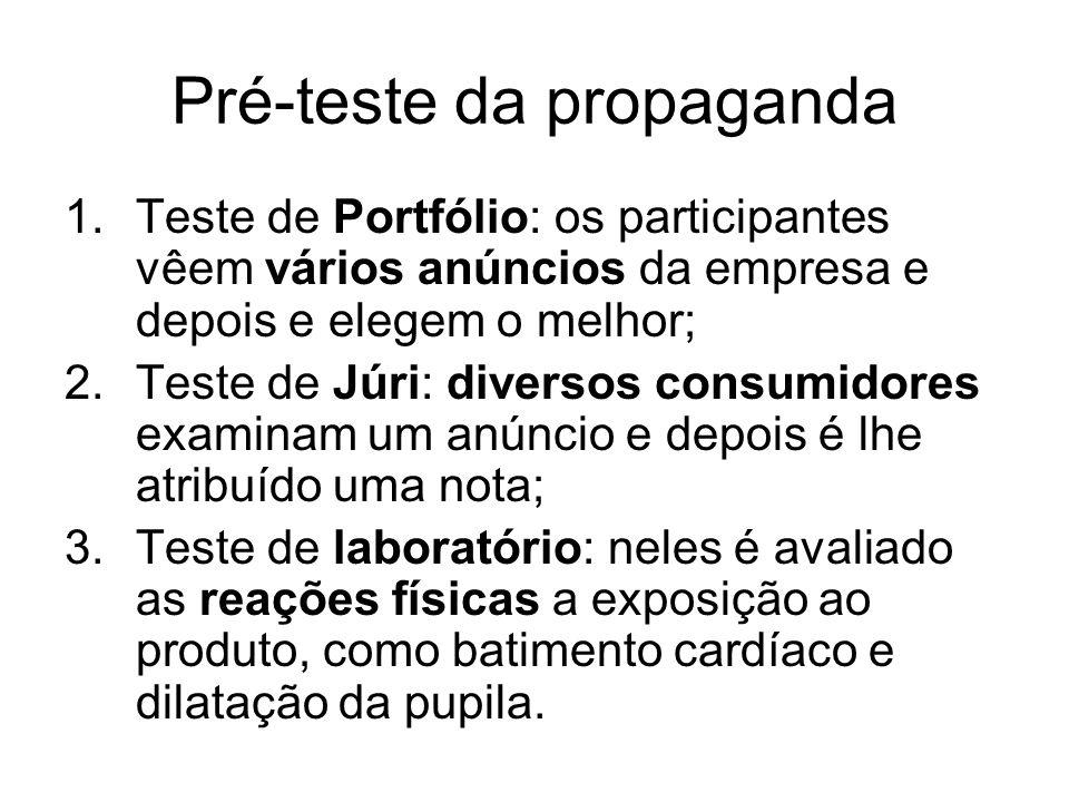 Pré-teste da propaganda 1.Teste de Portfólio: os participantes vêem vários anúncios da empresa e depois e elegem o melhor; 2.Teste de Júri: diversos c