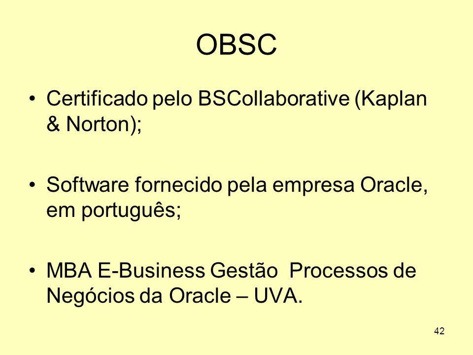 42 OBSC Certificado pelo BSCollaborative (Kaplan & Norton); Software fornecido pela empresa Oracle, em português; MBA E-Business Gestão Processos de N
