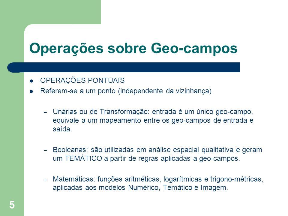 6 OPERAÇÕES SOBRE GEO- CAMPOS OPERAÇÕES PONTUAIS ENTRADA SAÍDA NOME DA OPERAÇÃO ENTRADA SAÍDA NOME DA OPERAÇÃO TEMÁTICO MNT PONDERAÇÃO TEMÁTICO MNT PONDERAÇÃO TEMÁTICO TEMÁTICO RECLASSIFICAÇÃO TEMÁTICO TEMÁTICO RECLASSIFICAÇÃO IMAGEM TEMÁTICO FATIAMENTO IMAGEM TEMÁTICO FATIAMENTO MNT TEMÁTICO FATIAMENTO DE CLASSES MNT TEMÁTICO FATIAMENTO DE CLASSES