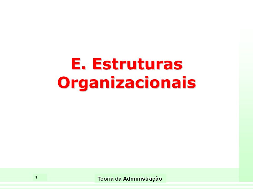 1 Teoria da Administração E. Estruturas Organizacionais