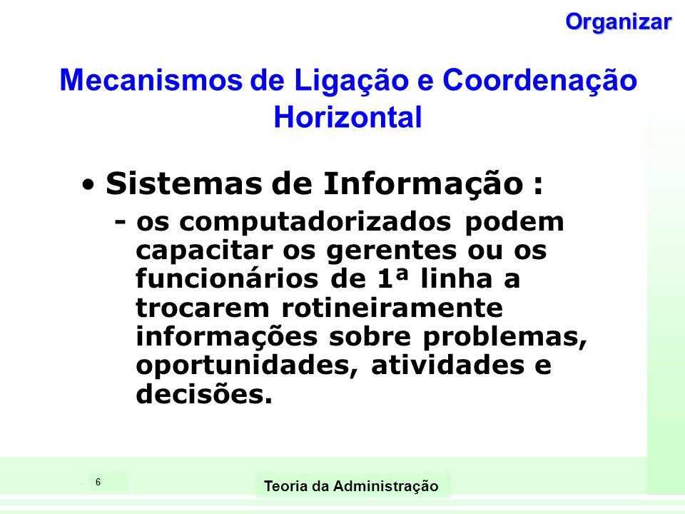 5 Teoria da Administração Mecanismos de Ligação e Coordenação Horizontal (entre departamentos) Alta Baixa Sistemas de Informação Contato Direto Forças