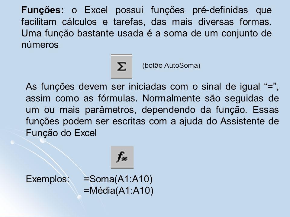 Funções: o Excel possui funções pré-definidas que facilitam cálculos e tarefas, das mais diversas formas.