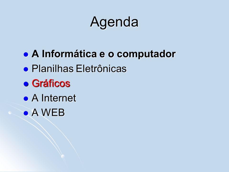 Agenda A Informática e o computador A Informática e o computador Planilhas Eletrônicas Planilhas Eletrônicas Gráficos Gráficos A Internet A Internet A WEB A WEB