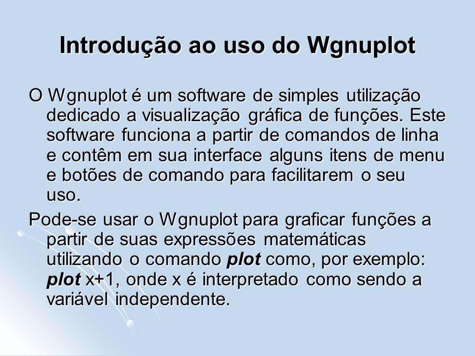 Introdução ao uso do Wgnuplot O Wgnuplot é um software de simples utilização dedicado a visualização gráfica de funções.