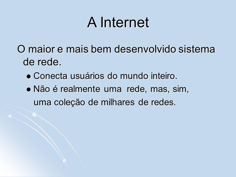 A Internet O maior e mais bem desenvolvido sistema de rede.