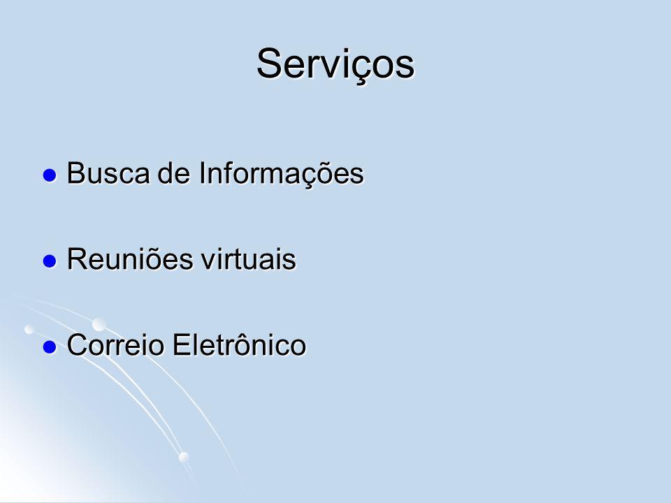 Serviços Busca de Informações Busca de Informações Reuniões virtuais Reuniões virtuais Correio Eletrônico Correio Eletrônico