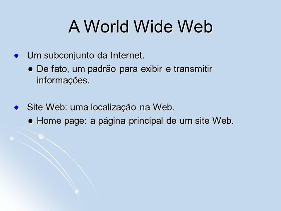 A World Wide Web Um subconjunto da Internet.Um subconjunto da Internet.
