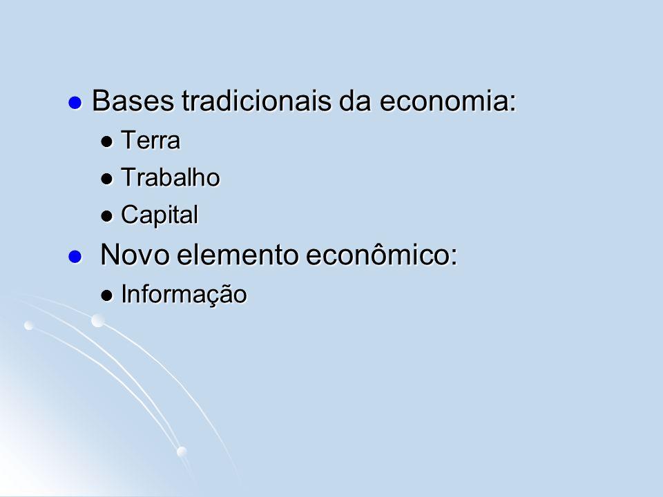 Bases tradicionais da economia: Bases tradicionais da economia: Terra Terra Trabalho Trabalho Capital Capital Novo elemento econômico: Novo elemento econômico: Informação Informação