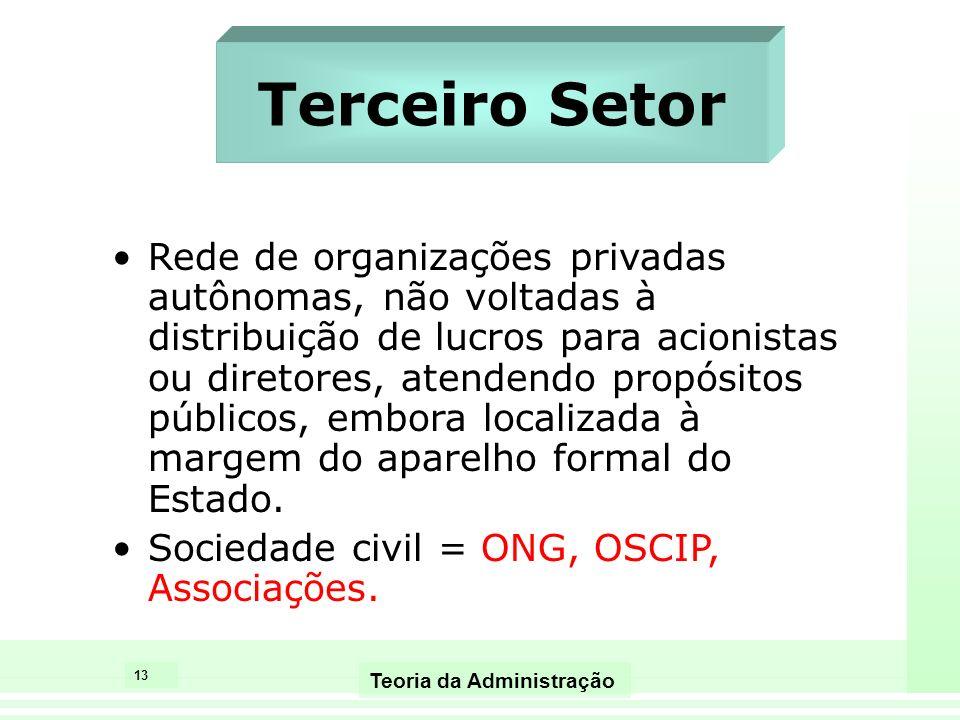13 Teoria da Administração Terceiro Setor Rede de organizações privadas autônomas, não voltadas à distribuição de lucros para acionistas ou diretores,