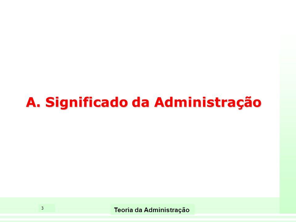 3 Teoria da Administração A. Significado da Administração
