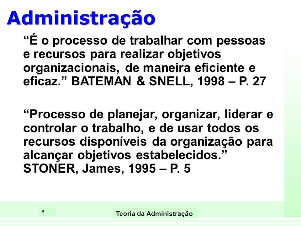 5 Teoria da Administração É o processo de trabalhar com pessoas e recursos para realizar objetivos organizacionais, de maneira eficiente e eficaz. BAT