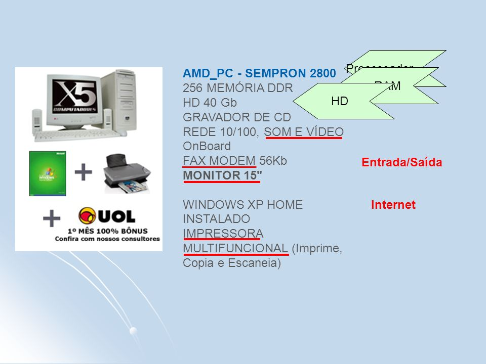 AMD_PC - SEMPRON 2800 256 MEMÓRIA DDR HD 40 Gb GRAVADOR DE CD REDE 10/100, SOM E VÍDEO OnBoard FAX MODEM 56Kb MONITOR 15 WINDOWS XP HOME INSTALADO IMPRESSORA MULTIFUNCIONAL (Imprime, Copia e Escaneia) Processador RAM HD Entrada/Saída Internet