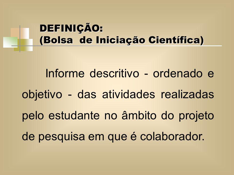 DEFINIÇÃO: (Bolsa de Iniciação Científica) Informe descritivo - ordenado e objetivo - das atividades realizadas pelo estudante no âmbito do projeto de