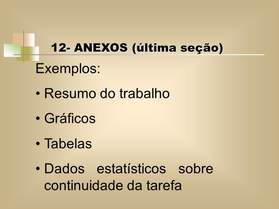 12- ANEXOS (última seção) 12- ANEXOS (última seção) Exemplos: Resumo do trabalho Gráficos Tabelas Dados estatísticos sobre continuidade da tarefa