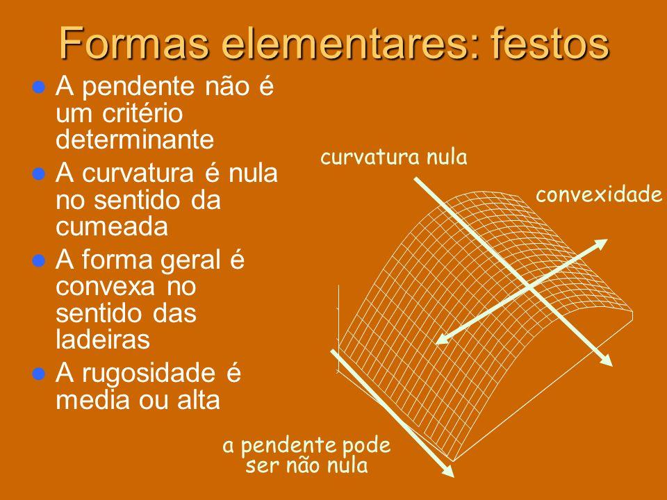 Formas elementares: festos A pendente não é um critério determinante A curvatura é nula no sentido da cumeada A forma geral é convexa no sentido das l