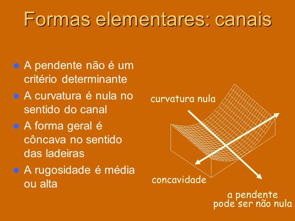 A pendente não é um critério determinante A curvatura é nula no sentido do canal A forma geral é côncava no sentido das ladeiras A rugosidade é média