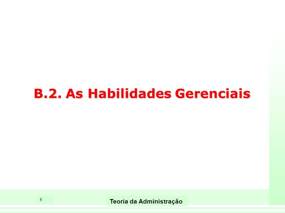 1 Teoria da Administração B.2. As Habilidades Gerenciais
