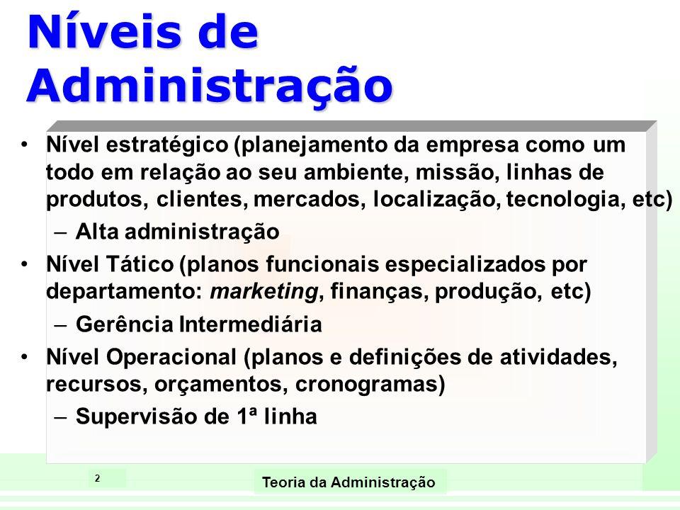 2 Teoria da Administração Níveis de Administração Nível estratégico (planejamento da empresa como um todo em relação ao seu ambiente, missão, linhas d