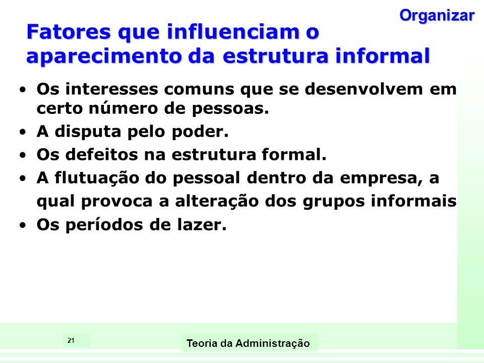 21 Teoria da Administração Fatores que influenciam o aparecimento da estrutura informal Os interesses comuns que se desenvolvem em certo número de pes