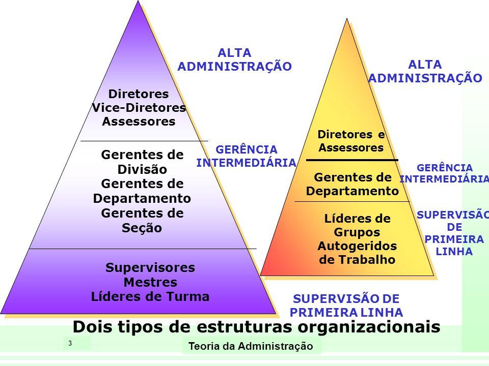 4 Teoria da Administração Habilidades gerenciais segundo Katz Administração Superior Gerência Intermediária Supervisão de Primeira linha Habilidades Conceituais Habilidades Humanas Habilidades Técnicas Lidar com idéias e conceitos complexos.