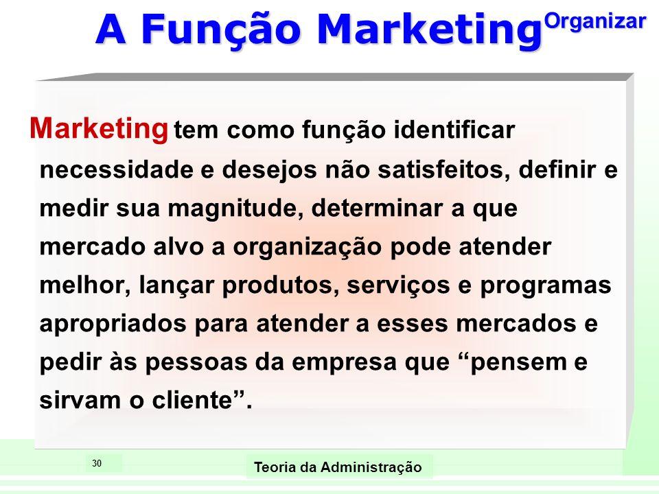 30 Teoria da Administração A Função Marketing Marketing tem como função identificar necessidade e desejos não satisfeitos, definir e medir sua magnitu