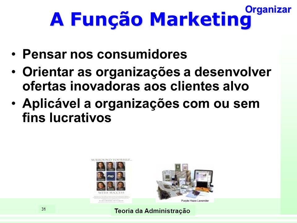 31 Teoria da Administração A Função Marketing Pensar nos consumidores Orientar as organizações a desenvolver ofertas inovadoras aos clientes alvo Apli