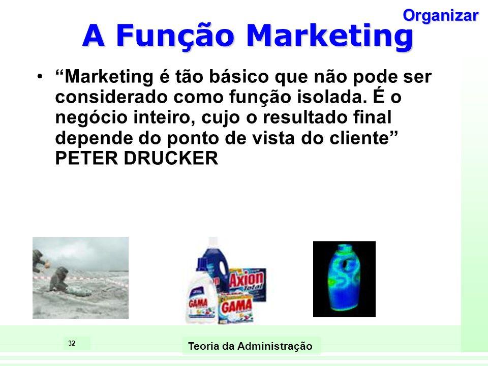 32 Teoria da Administração A Função Marketing Marketing é tão básico que não pode ser considerado como função isolada. É o negócio inteiro, cujo o res
