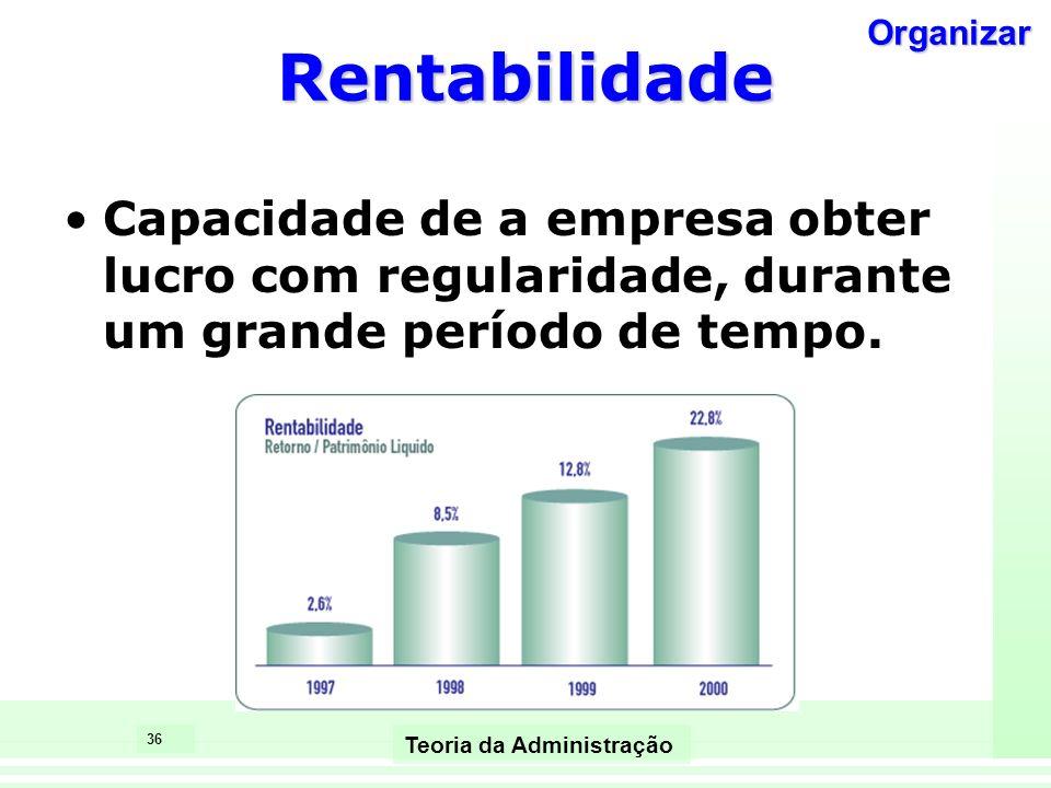 36 Teoria da Administração Rentabilidade Capacidade de a empresa obter lucro com regularidade, durante um grande período de tempo. Organizar