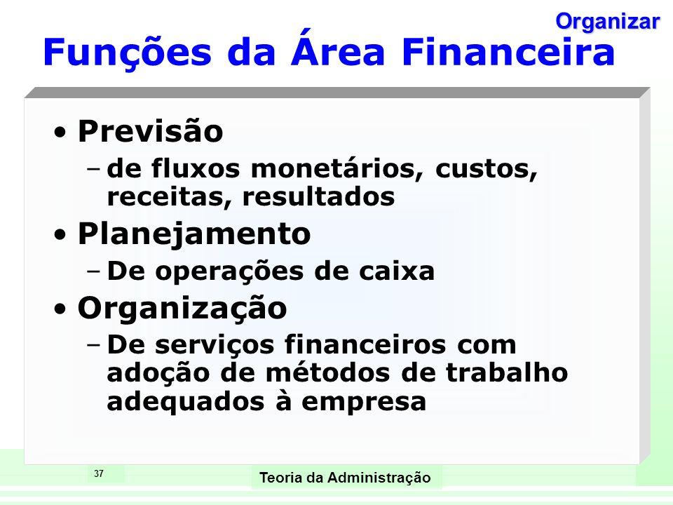 37 Teoria da Administração Funções da Área Financeira Previsão –de fluxos monetários, custos, receitas, resultados Planejamento –De operações de caixa