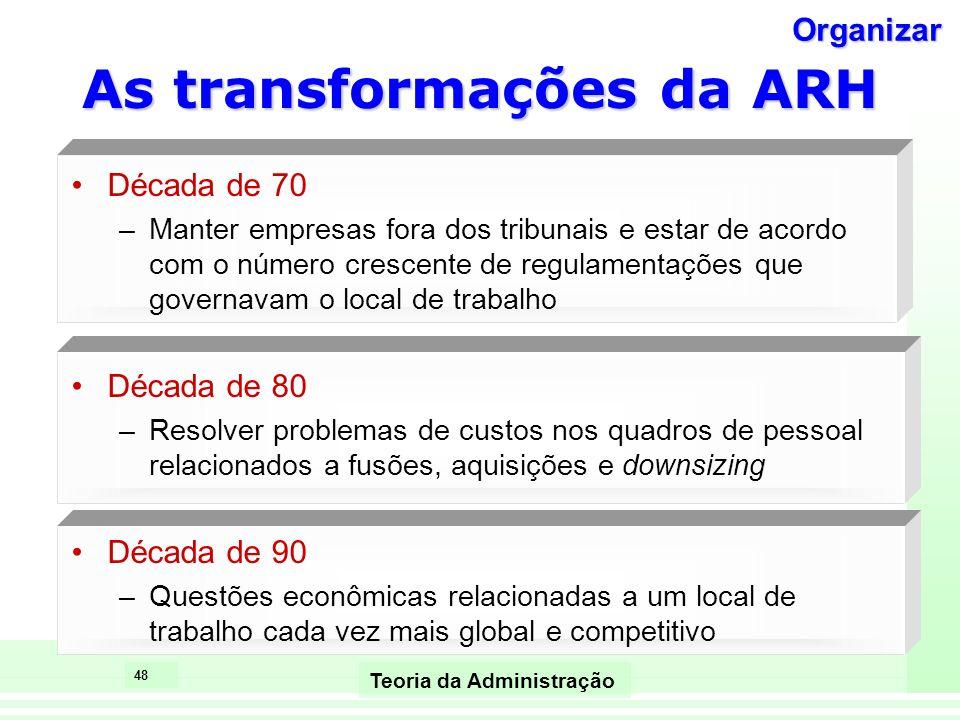 48 Teoria da Administração As transformações da ARH Década de 70 –Manter empresas fora dos tribunais e estar de acordo com o número crescente de regul